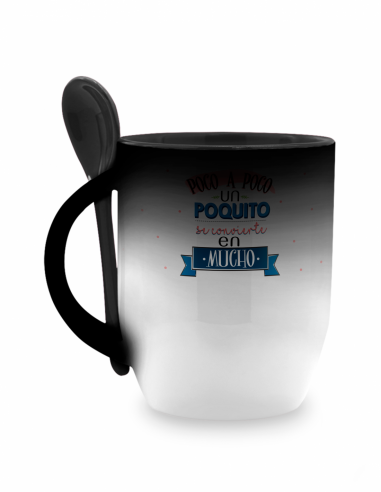 Taza magica conica ceramica 12oz color interior con cuchara